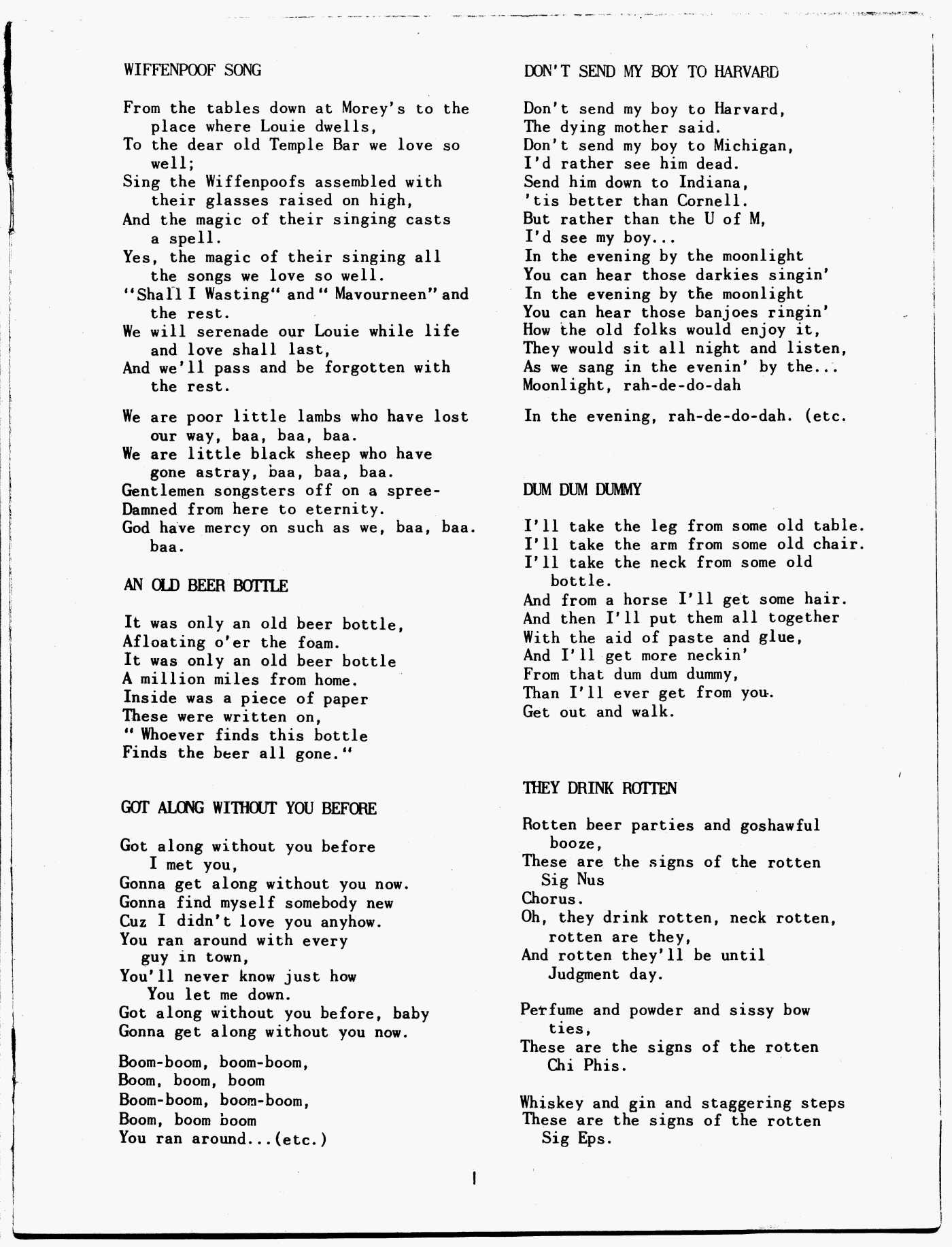 The Unofficial College Song Book (1950s)